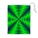 Shiny Lime Navy Sheen Radiate 3d Drawstring Pouches (Extra Large) Front