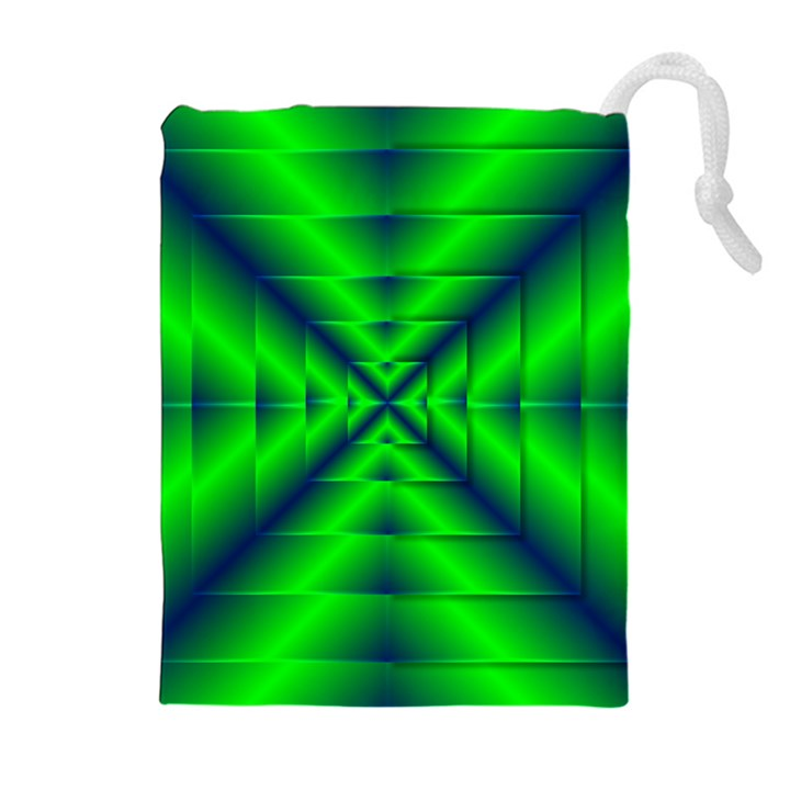 Shiny Lime Navy Sheen Radiate 3d Drawstring Pouches (Extra Large)