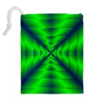 Shiny Lime Navy Sheen Radiate 3d Drawstring Pouches (Extra Large) Back
