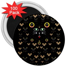 Merry Black Cat In The Night And A Mouse Involved Pop Art 3  Magnets (100 Pack) by pepitasart
