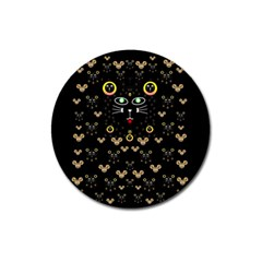 Merry Black Cat In The Night And A Mouse Involved Pop Art Magnet 3  (round) by pepitasart