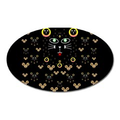 Merry Black Cat In The Night And A Mouse Involved Pop Art Oval Magnet by pepitasart