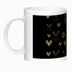 Merry Black Cat In The Night And A Mouse Involved Pop Art Night Luminous Mugs