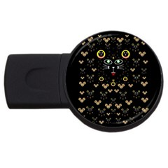 Merry Black Cat In The Night And A Mouse Involved Pop Art Usb Flash Drive Round (4 Gb) by pepitasart