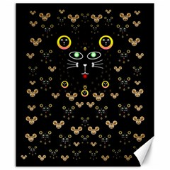 Merry Black Cat In The Night And A Mouse Involved Pop Art Canvas 20  X 24   by pepitasart