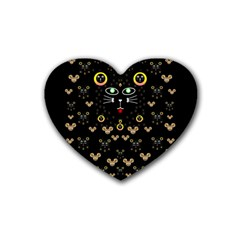 Merry Black Cat In The Night And A Mouse Involved Pop Art Rubber Coaster (heart)  by pepitasart