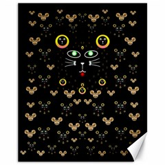 Merry Black Cat In The Night And A Mouse Involved Pop Art Canvas 11  X 14   by pepitasart