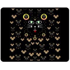 Merry Black Cat In The Night And A Mouse Involved Pop Art Fleece Blanket (medium)  by pepitasart