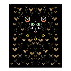 Merry Black Cat In The Night And A Mouse Involved Pop Art Shower Curtain 60  X 72  (medium)  by pepitasart