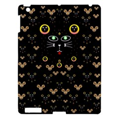 Merry Black Cat In The Night And A Mouse Involved Pop Art Apple Ipad 3/4 Hardshell Case by pepitasart