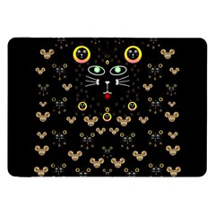 Merry Black Cat In The Night And A Mouse Involved Pop Art Samsung Galaxy Tab 8 9  P7300 Flip Case by pepitasart