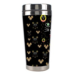 Merry Black Cat In The Night And A Mouse Involved Pop Art Stainless Steel Travel Tumblers by pepitasart
