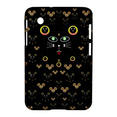 Merry Black Cat In The Night And A Mouse Involved Pop Art Samsung Galaxy Tab 2 (7 ) P3100 Hardshell Case  by pepitasart