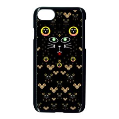 Merry Black Cat In The Night And A Mouse Involved Pop Art Apple Iphone 7 Seamless Case (black) by pepitasart
