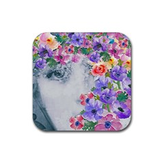 Flower Girl Rubber Coaster (square)  by 8fugoso