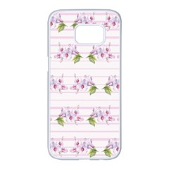 Floral Pattern Samsung Galaxy S7 Edge White Seamless Case by SuperPatterns