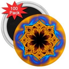 Digital Art Fractal Artwork Flower 3  Magnets (100 Pack)