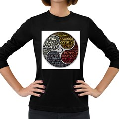 Person Character Characteristics Women s Long Sleeve Dark T-shirts by Celenk