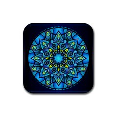 Mandala Blue Abstract Circle Rubber Coaster (square)