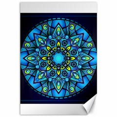 Mandala Blue Abstract Circle Canvas 12  X 18