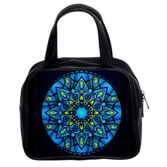Mandala Blue Abstract Circle Classic Handbags (2 Sides)