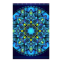 Mandala Blue Abstract Circle Shower Curtain 48  X 72  (small)  by Celenk