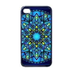 Mandala Blue Abstract Circle Apple Iphone 4 Case (black) by Celenk
