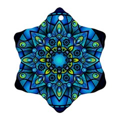 Mandala Blue Abstract Circle Snowflake Ornament (two Sides) by Celenk