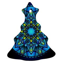 Mandala Blue Abstract Circle Christmas Tree Ornament (two Sides) by Celenk