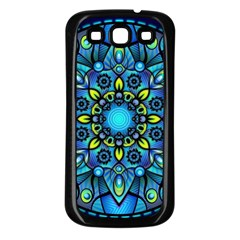 Mandala Blue Abstract Circle Samsung Galaxy S3 Back Case (black) by Celenk