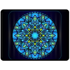 Mandala Blue Abstract Circle Double Sided Fleece Blanket (large)  by Celenk