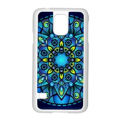 Mandala Blue Abstract Circle Samsung Galaxy S5 Case (white) by Celenk