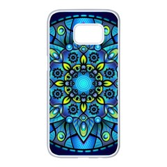 Mandala Blue Abstract Circle Samsung Galaxy S7 Edge White Seamless Case by Celenk