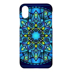 Mandala Blue Abstract Circle Apple Iphone X Hardshell Case by Celenk