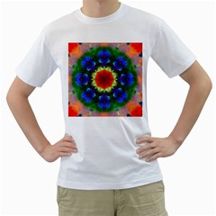Fractal Digital Mandala Floral Men s T Shirt (white) (two Sided)