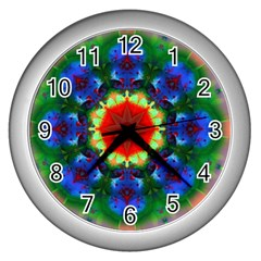 Fractal Digital Mandala Floral Wall Clocks (silver)  by Celenk