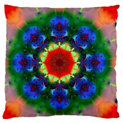 Fractal Digital Mandala Floral Large Flano Cushion Case (one Side) by Celenk