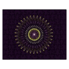 Fractal Purple Mandala Violet Rectangular Jigsaw Puzzl by Celenk