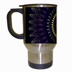 Fractal Purple Mandala Violet Travel Mugs (white) by Celenk