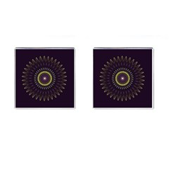Fractal Purple Mandala Violet Cufflinks (square)