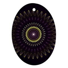 Fractal Purple Mandala Violet Oval Ornament (two Sides) by Celenk