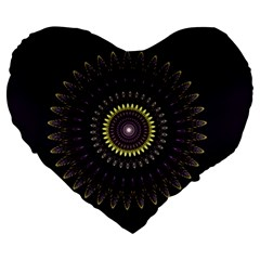 Fractal Purple Mandala Violet Large 19  Premium Flano Heart Shape Cushions by Celenk