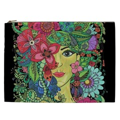 Mandala Figure Nature Girl Cosmetic Bag (xxl)  by Celenk