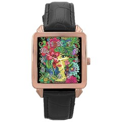 Mandala Figure Nature Girl Rose Gold Leather Watch  by Celenk