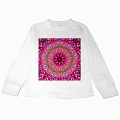Flower Mandala Art Pink Abstract Kids Long Sleeve T Shirts by Celenk