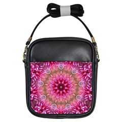 Flower Mandala Art Pink Abstract Girls Sling Bags