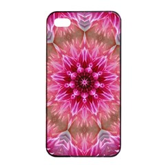 Flower Mandala Art Pink Abstract Apple Iphone 4/4s Seamless Case (black) by Celenk