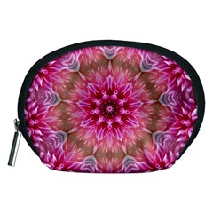Flower Mandala Art Pink Abstract Accessory Pouches (medium)  by Celenk