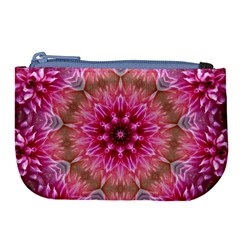 Flower Mandala Art Pink Abstract Large Coin Purse by Celenk