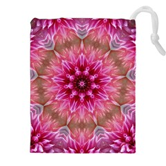 Flower Mandala Art Pink Abstract Drawstring Pouches (xxl) by Celenk